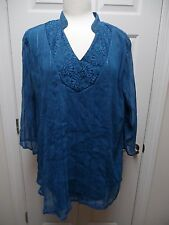 MAGGIE BARNES 2X Blue Lined Sheer Sequin 3/4 Length Sleeve Top