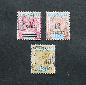 SEYCHELLES - 1893-1902 SCARCE EARLY QV SURCHARGED LOT VFU RR