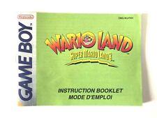 Notice jeu Nintendo Game Boy Super Mario land 3 Wario Land PAL FAH GB