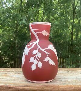 Webb Cameo Red Art Glass Vase