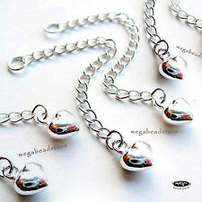 """5 pcs 2"""" Long Extender Chain 925 Sterling Silver Heart Extention Chain F240"""
