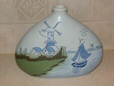 "AMERICAN ART POTTERY FRAMAE 7 1/2"" PILLOW VASE DUTCH SCENE SIGNED A.M. STEEL"