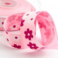 Pink Daisy Grosgrain Easter Ribbon 22mm - 10M FULL REEL