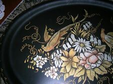 ANTIQUE HAND PAINTED TOLE METAL SERVING TRAY FLORAL BIRD PEACOCK SIGNED LARGE