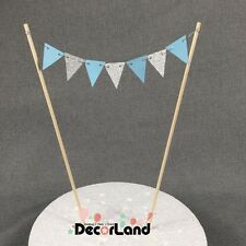 Blue Silver mini bunting Flag Cake Topper Happy Birthday Party Baby Shower Boy