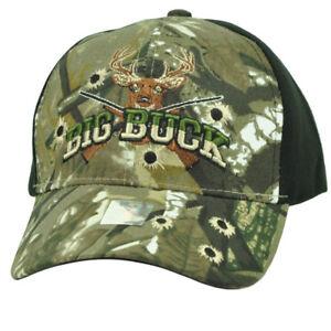 Big Buck Hunter Hunting Hunt Deer Black Camouflage Camo Adjustable Hat Cap