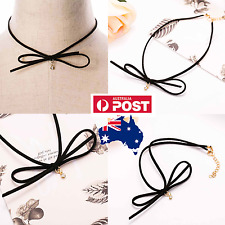Bow Rhinestone Velvet Charm Black Faux Suede String Wrap Bolo Choker Necklace