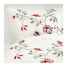 NEW Ikea RÖDBINKA Duvet Quilt Cover Set FULL/ Queen white, floral patterned