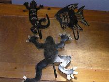 Lot of 3 Lightweight Black & Gilt Painted Metal Amphibian Frog Lizard Fish Wall