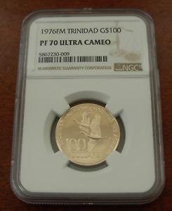 Trinidad and Tobago 1976FM Gold $100 NGC PF70UC Flying Birds