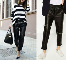 ZARA SIZE L FAUX LEATHER JOGGING TROUSERS PANTS JOGPANTS LEDEROPTIK Lederhose