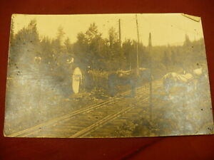 Logging giant  postcard horse lumberjacks railroad CYKO 1920's  Real photo #1435