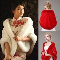 New Ivory Red White Faux Fur Jacket Wrap Shrug Bolero Shawl Cape Bridal Wedding