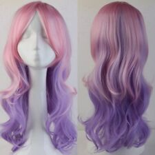 Long Cosplay Full Wig Real Synthetic Hair Costume Halloween Pink Purple Hair 438