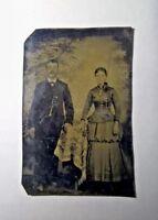 Antique Tintype Photo Young Victorian Man and Woman  Civil War Era