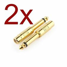 "2x GOLD Plated 1/4"" 6.35mm Mono Male To RCA Female Audio Connector Adapter"
