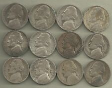New listing 1942 -1945 War Nickels 35% Silver- Us Silver Coin Lot- 12 Circulated Coins #4002