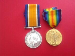 WW1 ROYAL IRISH RIFLES WAR & VICTORY MEDALS  18-1414 pte K.S.Mckibbin