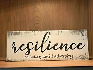 Rustic Wood Sign RESILIENCE farmhouse style, home decor, inspirational quote
