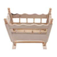 1/12 Dollhouse Miniature Wooden Cardle Baby Bed Model Accessories Toys YK