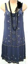 Size 8 12 Vintage 20s Gatsby Flapper Charleston Style Beaded Blue Dress EU 36 40