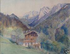 Impressionismus Aquarell Gemälde Alpen Hof Österreich Kaisergebirge sig. M?~1900
