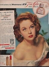 Vtg 1952 Westmore Tru Glo Cosmetic Ad Susan Hayward Red Wood Frame 10 x 12