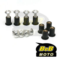 Silver Windscreen bolts Wellnuts For Suzuki Bandit 1250S 650S GSF GSX R Fairing
