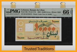 TT PK 86b 2008 LEBANON BANQUE DU LIBAN 10000 LIVRES PMG 66 EPQ GEM UNCIRCULATED!