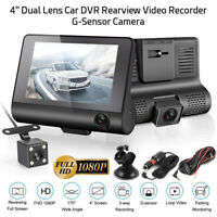 4'' HD 1080P 3 Lens Car DVR Dash Cam Vehicle Video Recorder Rearview Camera