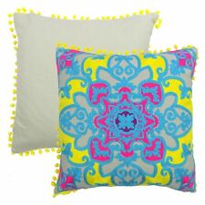 """MOSAIC EMBROIDERED POM POM YELLOW DUCK EGG BLUE COTTON CUSHION COVER 18"""" - 45CM"""