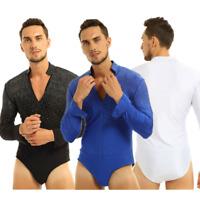 Mens One-piece Ballroom Latin Tango Rumba dance shirt Leotard Bodysuit Shirt Top
