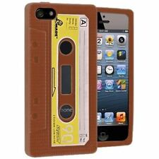 Retro Marrón/Amarillo Silicona Suave CASSETTE Funda de piel para Apple iPhone 5