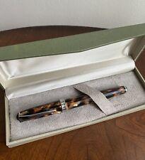 New Listingvintage Levenger Golden Tortoise Fountain Pen Beautiful Writing Tool In Box