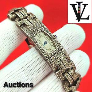 ANTIQUE - SILVER & DIAMONDS / STONES - FRANCE - WATCH - SWISS MOVEMENT 15 JEWELS