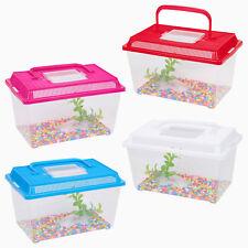 More details for plastic aquarium fish tank starter kit goldfish carry handle lid gravel cage new