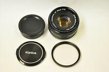 Konica 50mm f1.8 manual focus lens with filter and caps