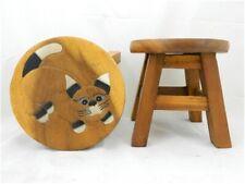 Childs Childrens Wooden Stool Chair - Cat Design