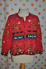 VTG Large  RED UGLY CHRISTMAS REINDEER STUDIO SWEATER beads bows Snowflakes