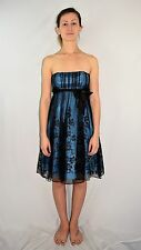 Faviana New York Black Tulle On Blue Strapless Cocktail Dress Size 4 USA Made