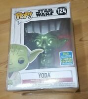 Funko Pop #124 Yoda Green Chrome 2019 Summer Convention SDCC + Free Protector!