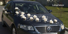 wedding car decoration, ribbon , bows, prom limousine decoration, LAURA white