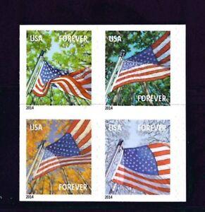 US Scott # 4782b - 4785b 2014 Forever Flag For All Seasons Block of 4