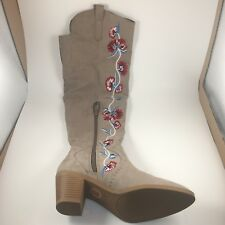 New Carlos Santana Women Boots 7 Knee High Faux Suede Embroidered Flower