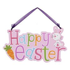 Wooden Happy Easter Bunny Rabbit Wall Hanging Plaque / Sign - Pink (06438)