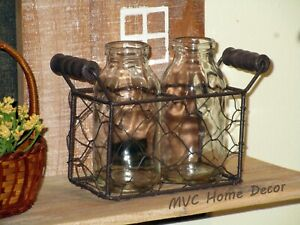 "2 Glass Bottles in a Rustic Chicken Wire Basket with Handles 6.5"" Long Farmhouse"