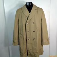 MACY'S Vtg RAINCOAT Rain Trench Coat Mens size 42L 42 Long Khaki