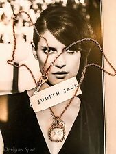 $135 Spectacular New Judith Jack Marcasite Rose Gold Faceted Crystal Necklace