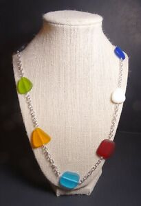 """RAINBOW MULTI PRIMARY COLOR cultured sea glass necklace 26"""" +2"""" extension"""
