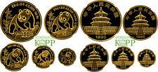 AA5507) China Gold Panda Set 1990 5 to 100 Yuan 1/20 - 1 OZ. Gold